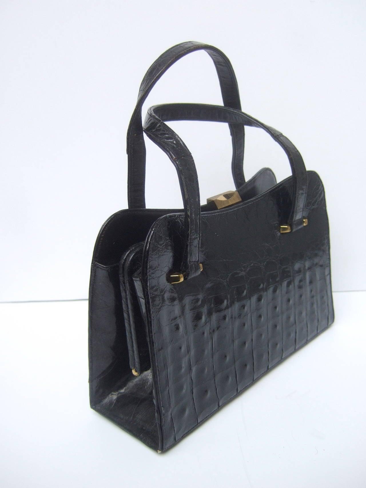 Exotic Sleek Black Alligator Handbag c 1960 2
