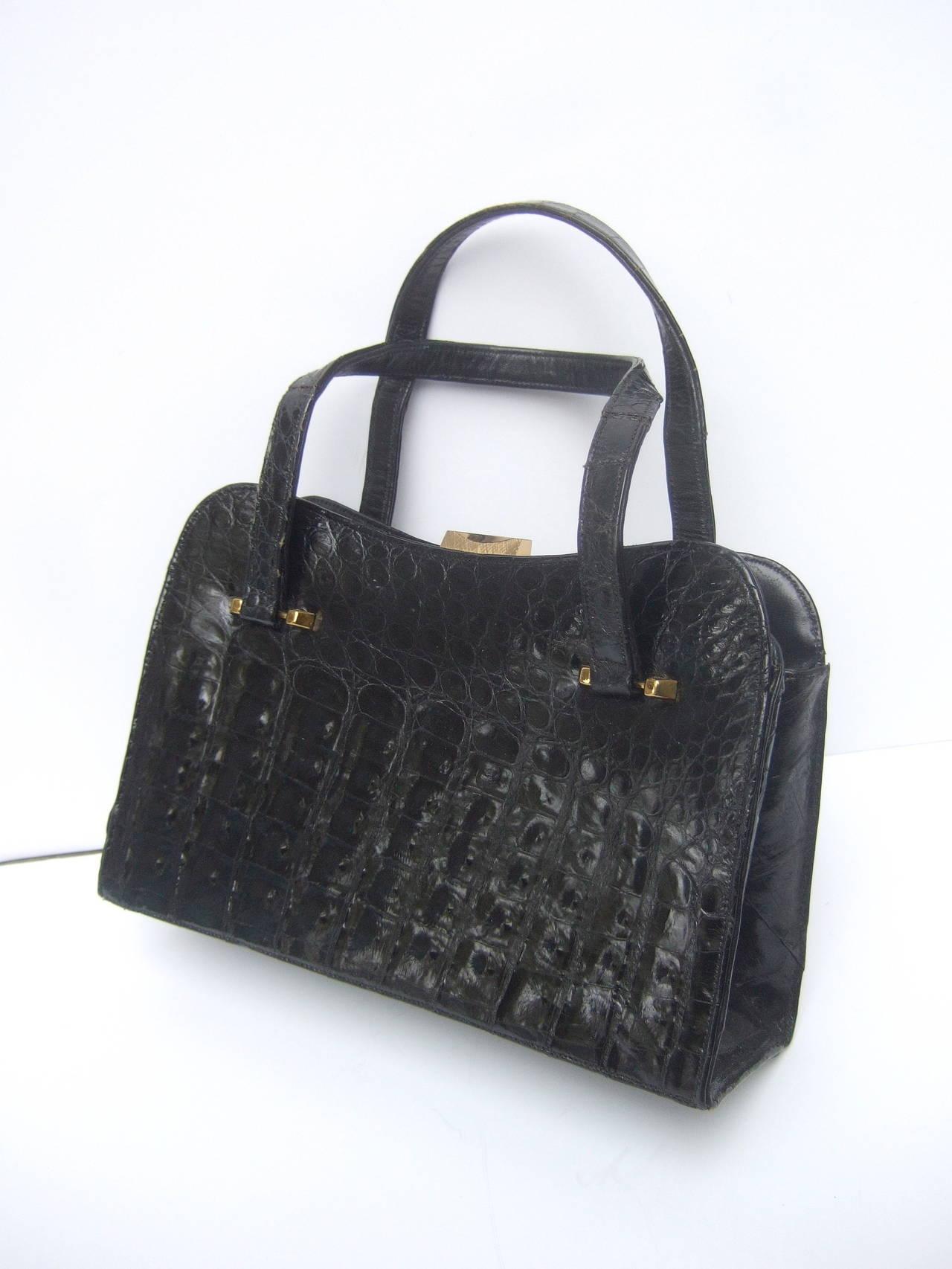 Exotic Sleek Black Alligator Handbag c 1960 4