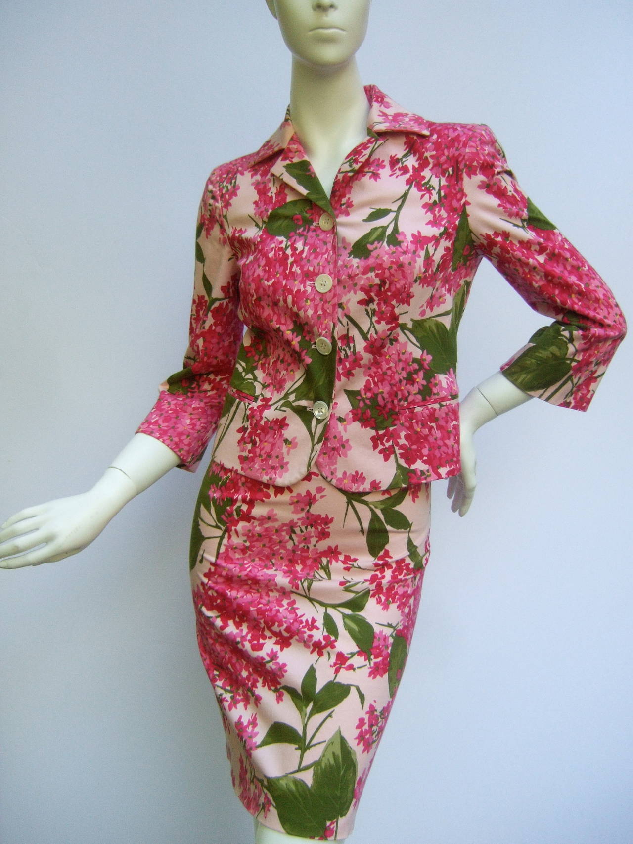 Moschino Italy Floral Print Cotton Skirt Suit Cheap And