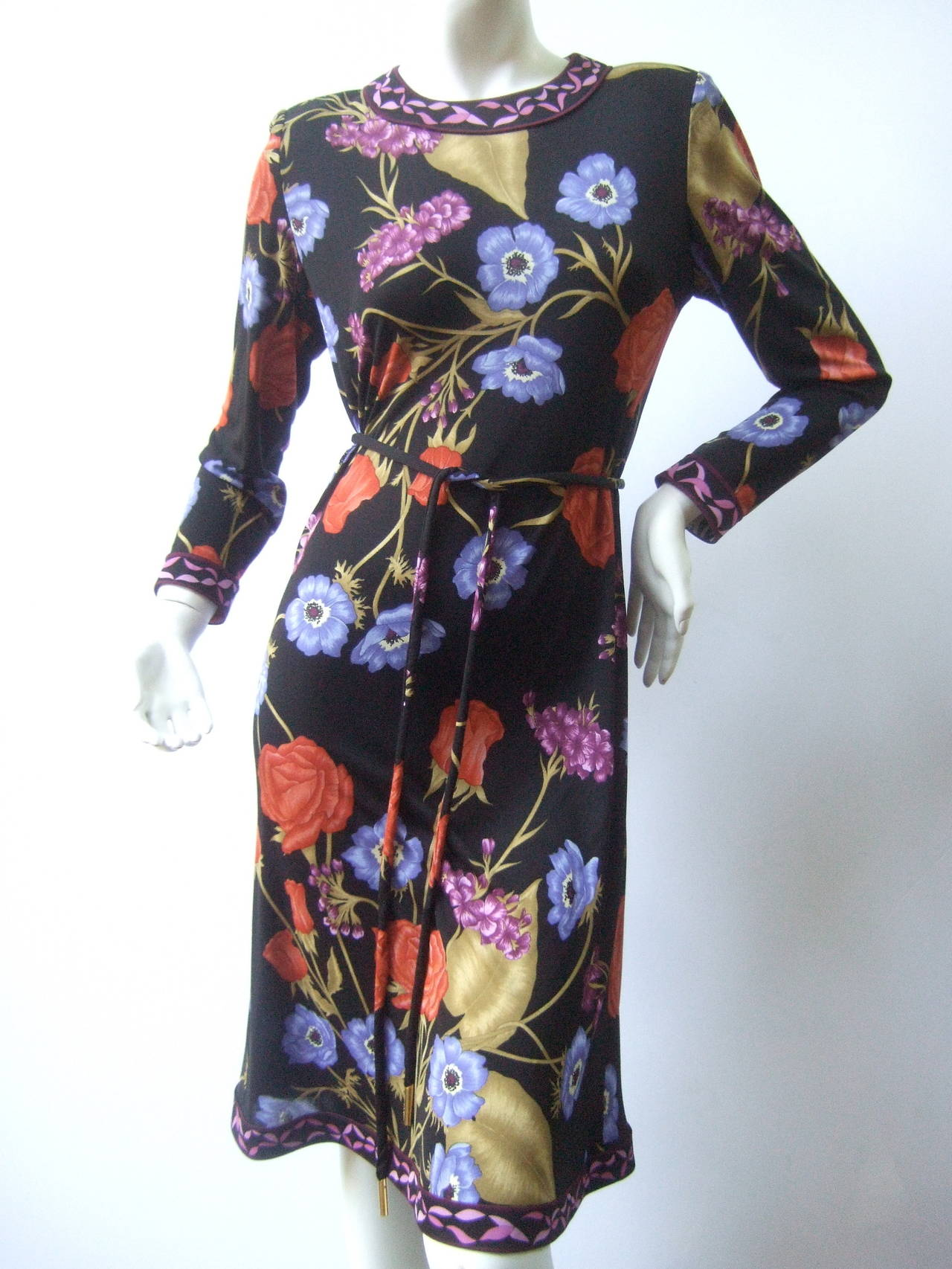 Averardo Bessi Silk Jersey Floral Print Dress Made In
