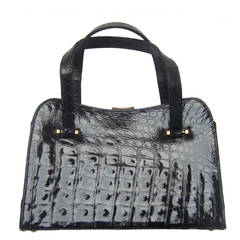 Exotic Sleek Black Alligator Handbag c 1960