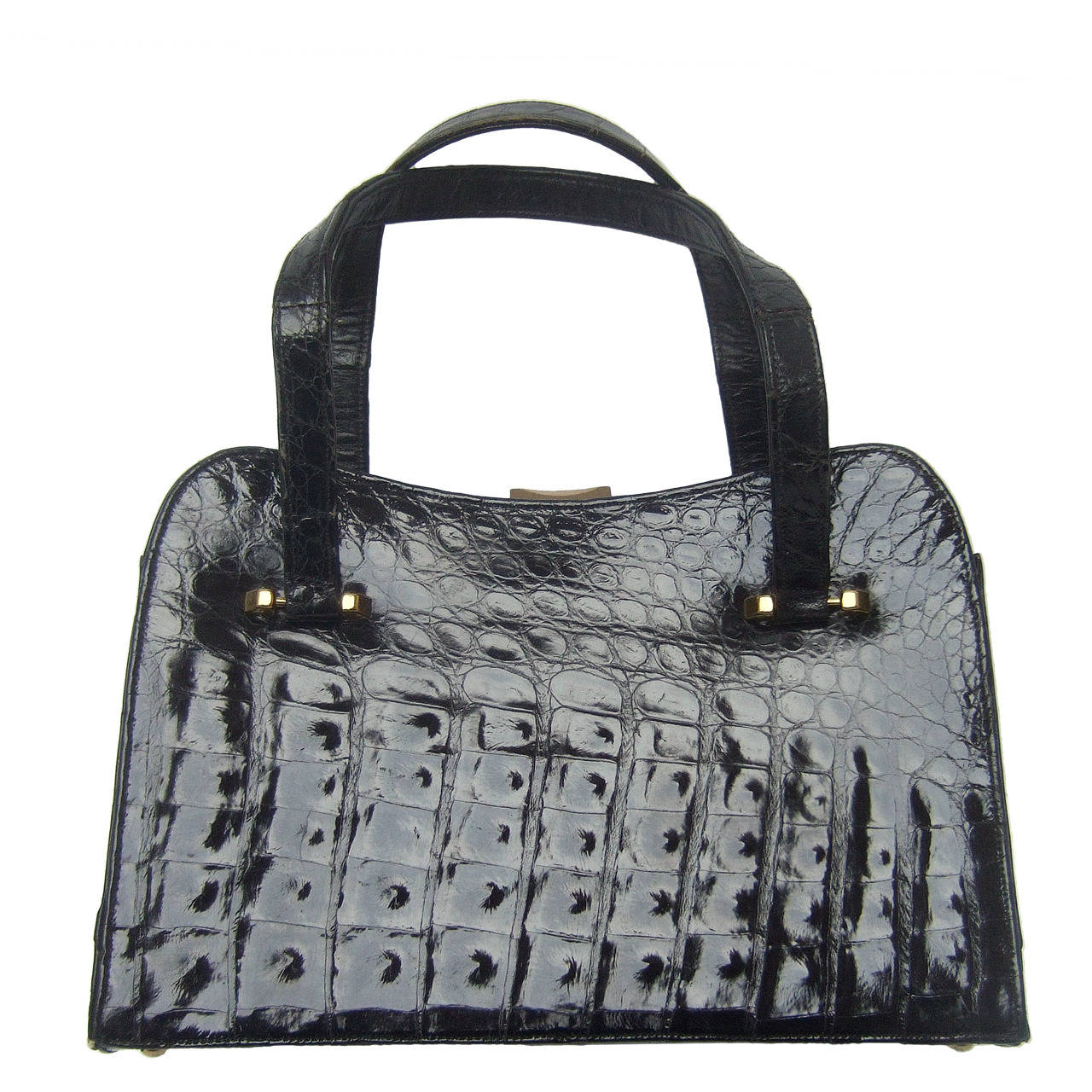 Exotic Sleek Black Alligator Handbag c 1960 For Sale