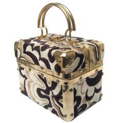Mod Cut Velvet Italian Box Handbag c 1970