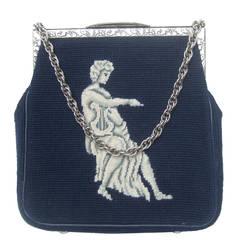 Unique Needlepoint Figural Harpist Handbag c 1970