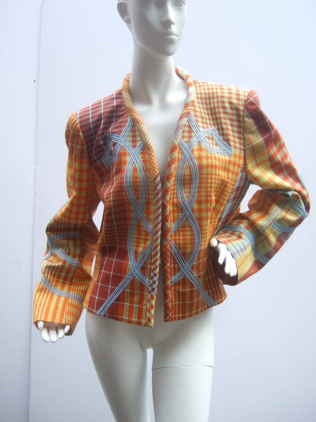 Christian Lacroix Paris Plaid Wool Jacket Size 46 c 1990 For Sale 2