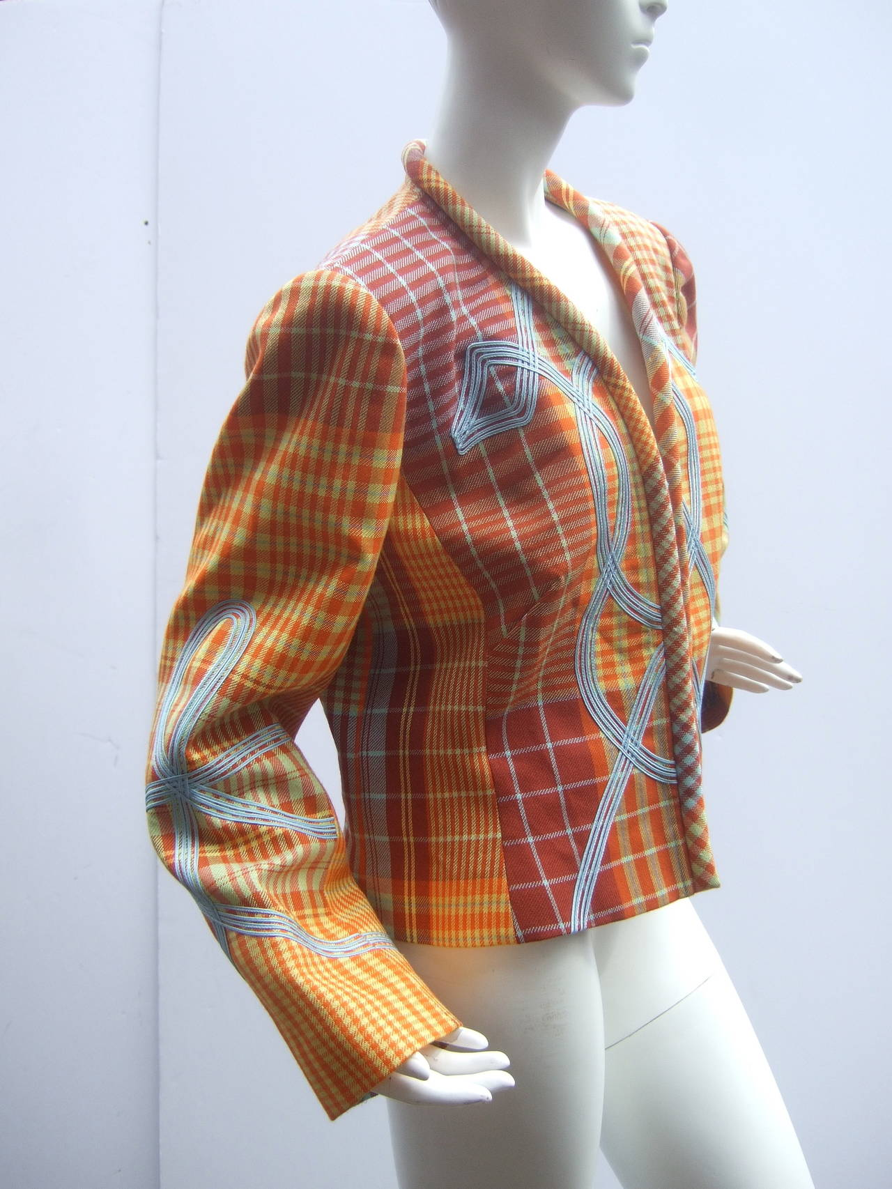 Brown Christian Lacroix Paris Plaid Wool Jacket Size 46 c 1990 For Sale