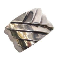 Les Bernard Sleek Silver Metal Cuff Bracelet c 1980s
