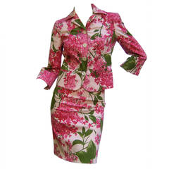 Moschino Italy Floral Print Cotton Skirt Suit Cheap & Chic US Size 4