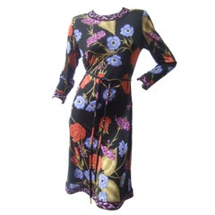 Averardo Bessi Silk Jersey Floral Print Dress Made in Italy US Size 4