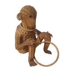 Whimsical Wicker Monkey Handbag c 1960