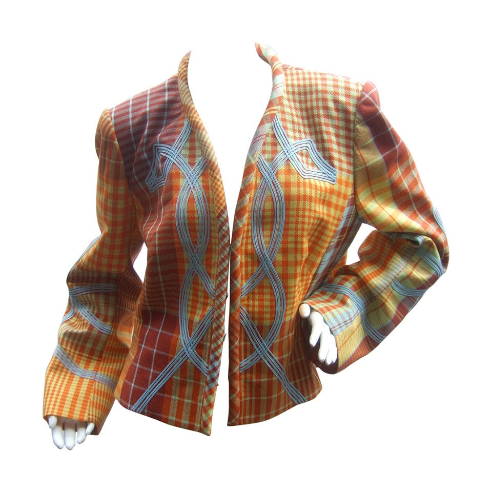Christian Lacroix Paris Plaid Wool Jacket Size 46 c 1990 For Sale