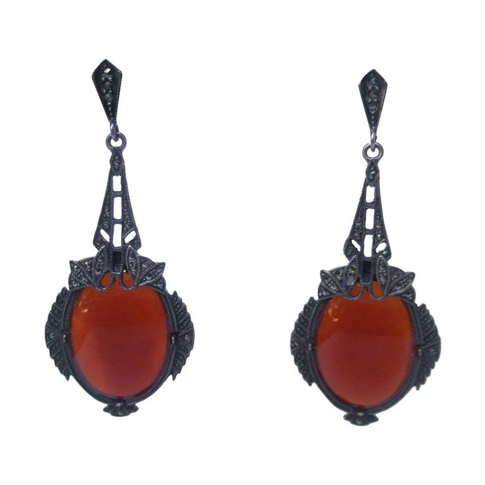 Exquisite Art Deco Dangling Carnelian Gl Marcasite Pendant Earrings For