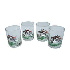 Neiman Marcus Set of Four Equestrian Drinking Glasses