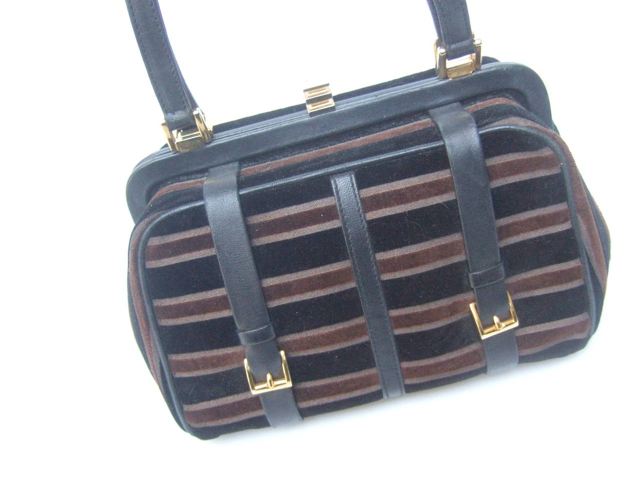 Saks Fifth Avenue Striped Velvet Handbag Made in Italy 4