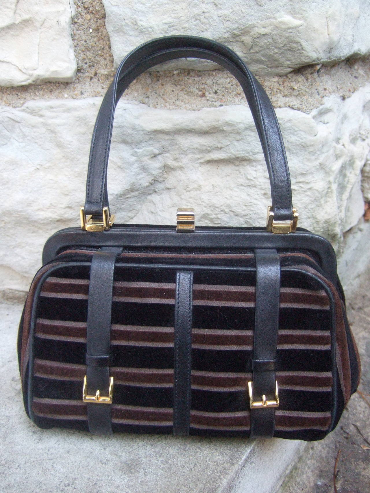 Saks Fifth Avenue Striped Velvet Handbag Made in Italy 3
