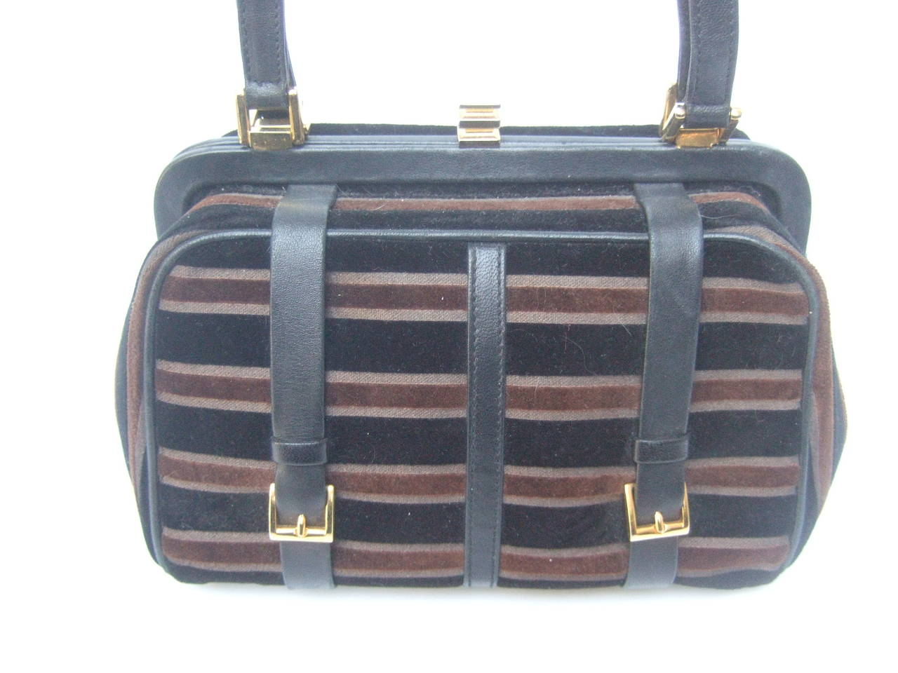 Saks Fifth Avenue Striped Velvet Handbag Made in Italy 5