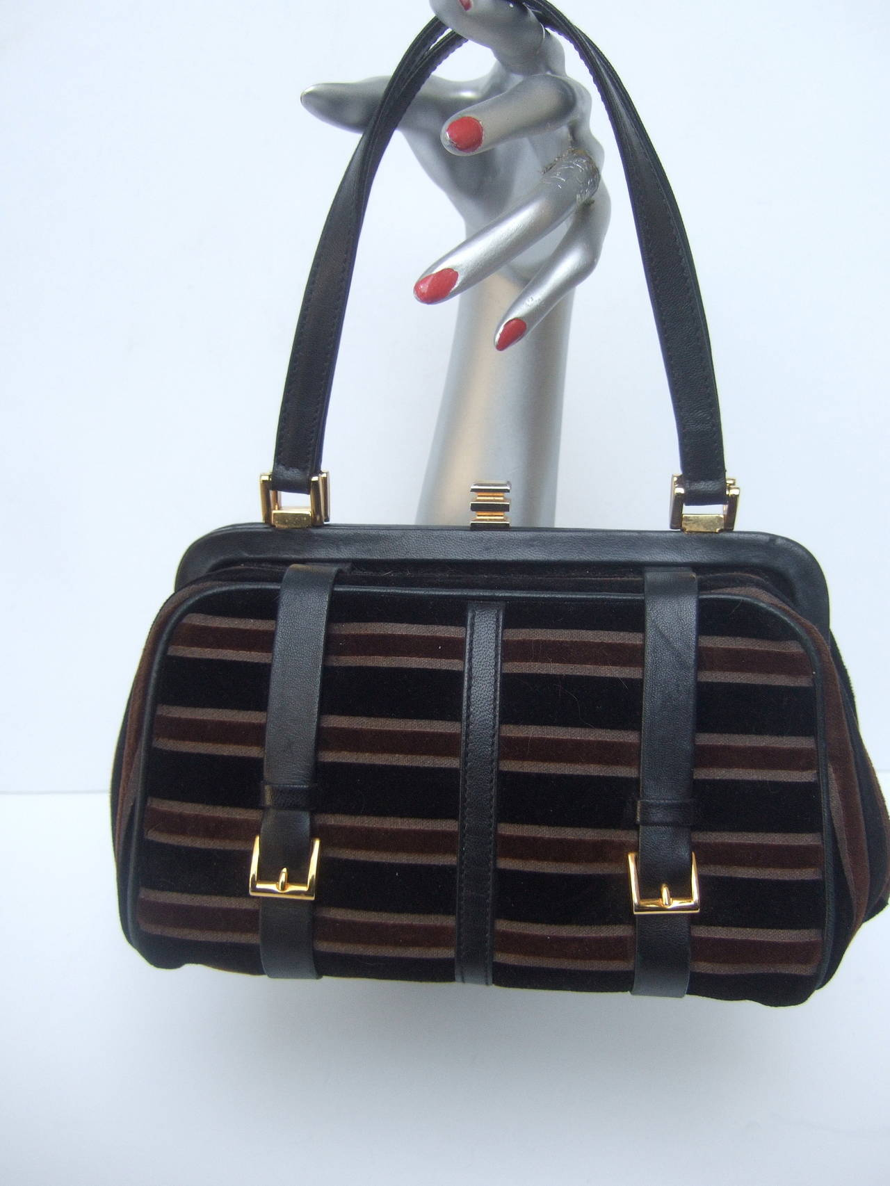 Saks Fifth Avenue Striped Velvet Handbag Made in Italy 2