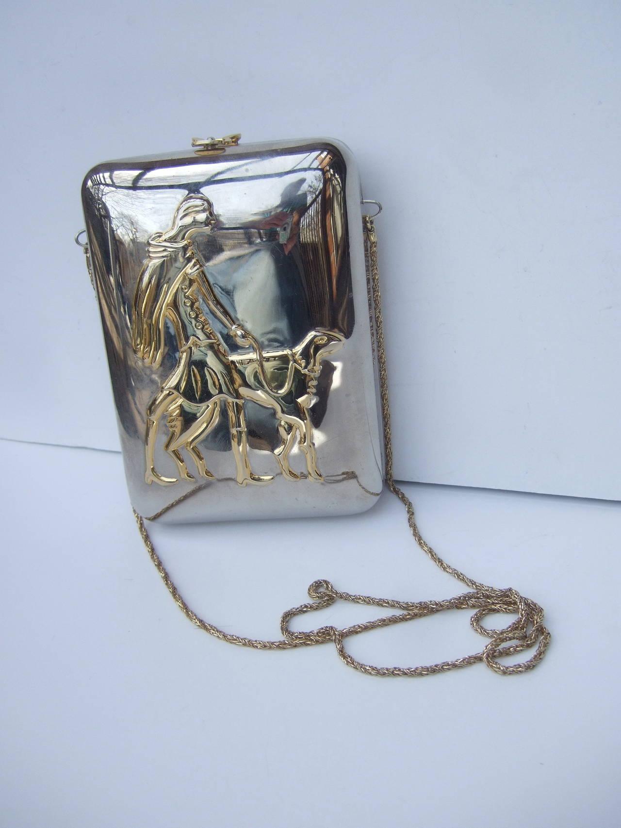 Women's Unique Figural Metal Woman Evening Bag c 1980 For Sale