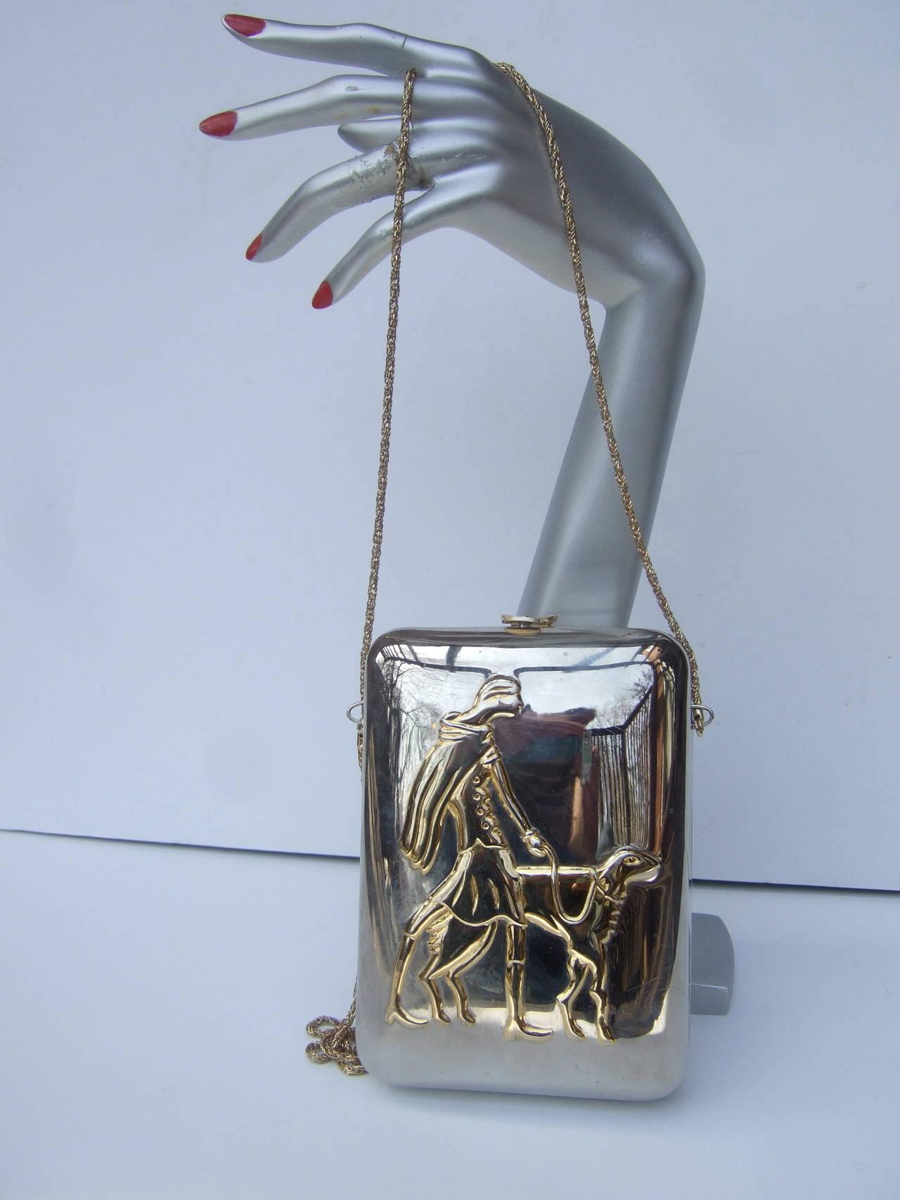 Gray Unique Figural Metal Woman Evening Bag c 1980 For Sale