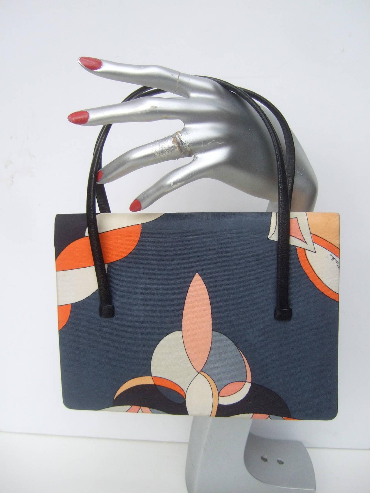 Emilio Pucci Italy Silk Diminutive Envelope Style Handbag c 1970 In Good Condition For Sale In Santa Barbara, CA