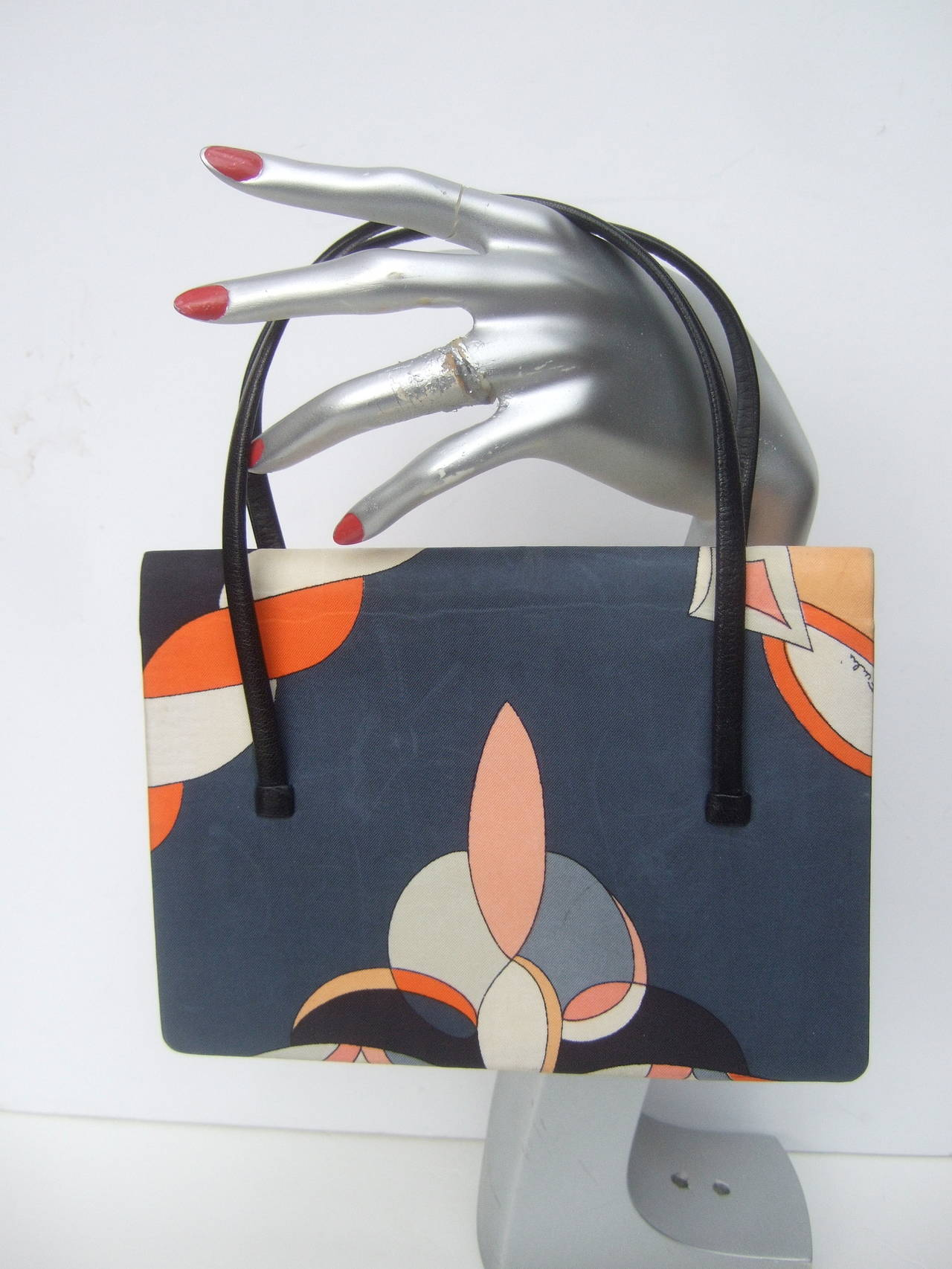 Emilio Pucci Italy Silk Diminutive Envelope Style Handbag c 1970 For Sale 3