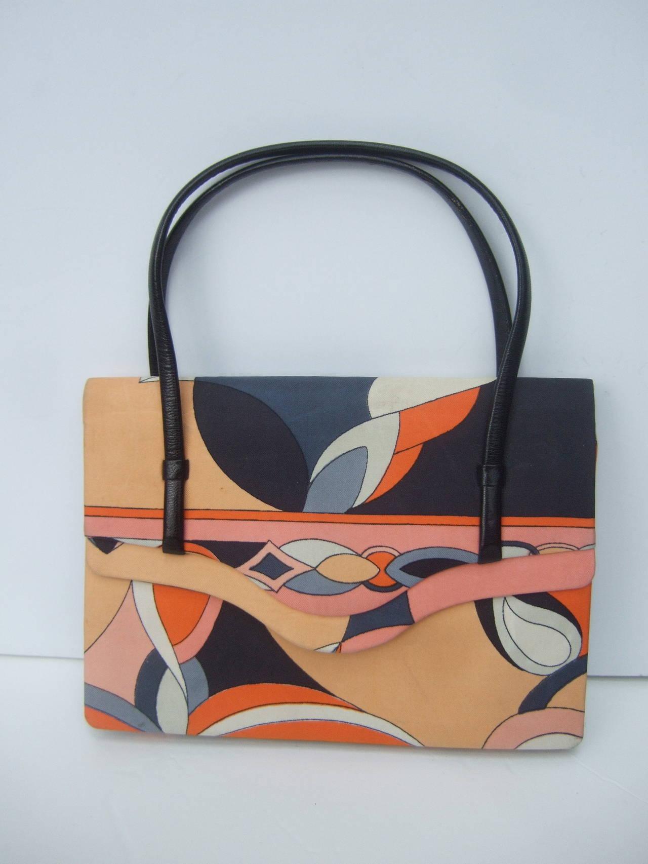 Women's Emilio Pucci Italy Silk Diminutive Envelope Style Handbag c 1970 For Sale