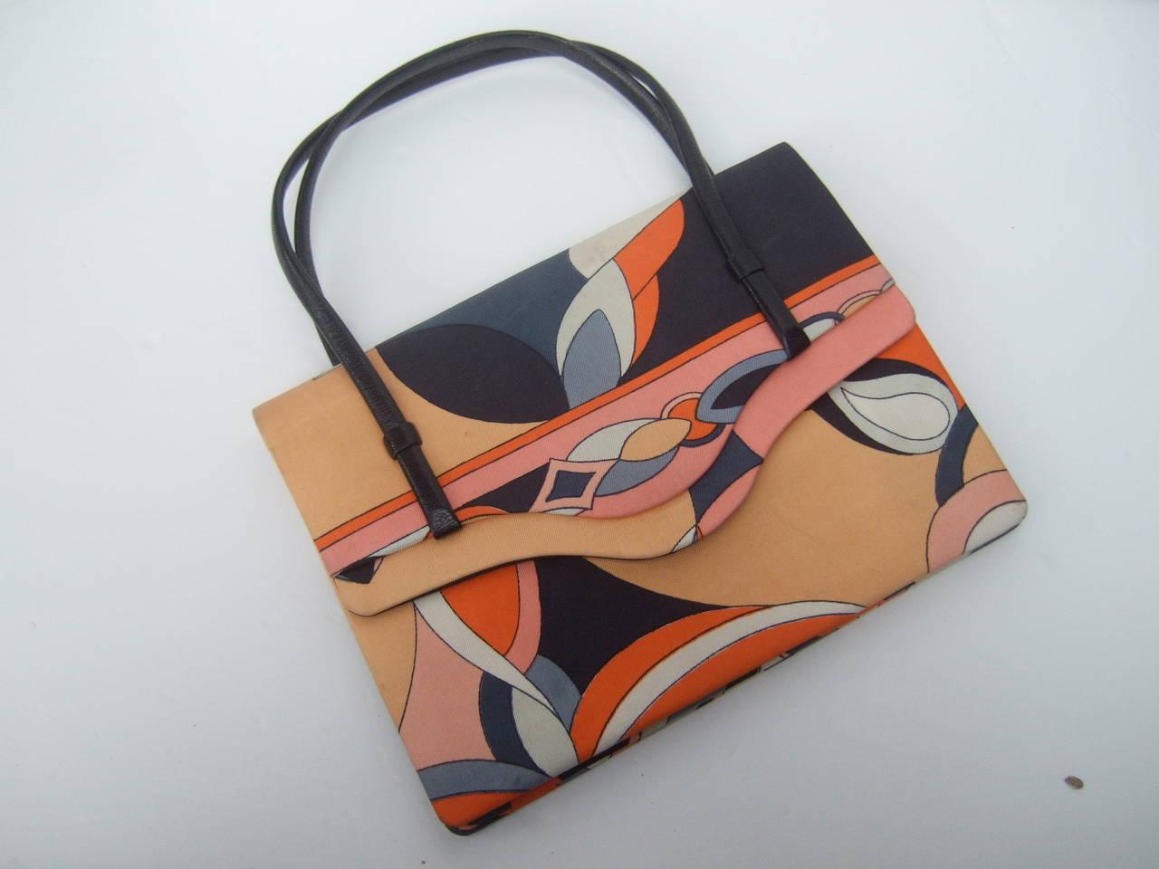 Emilio Pucci Italy Silk Diminutive Envelope Style Handbag c 1970 For Sale 1