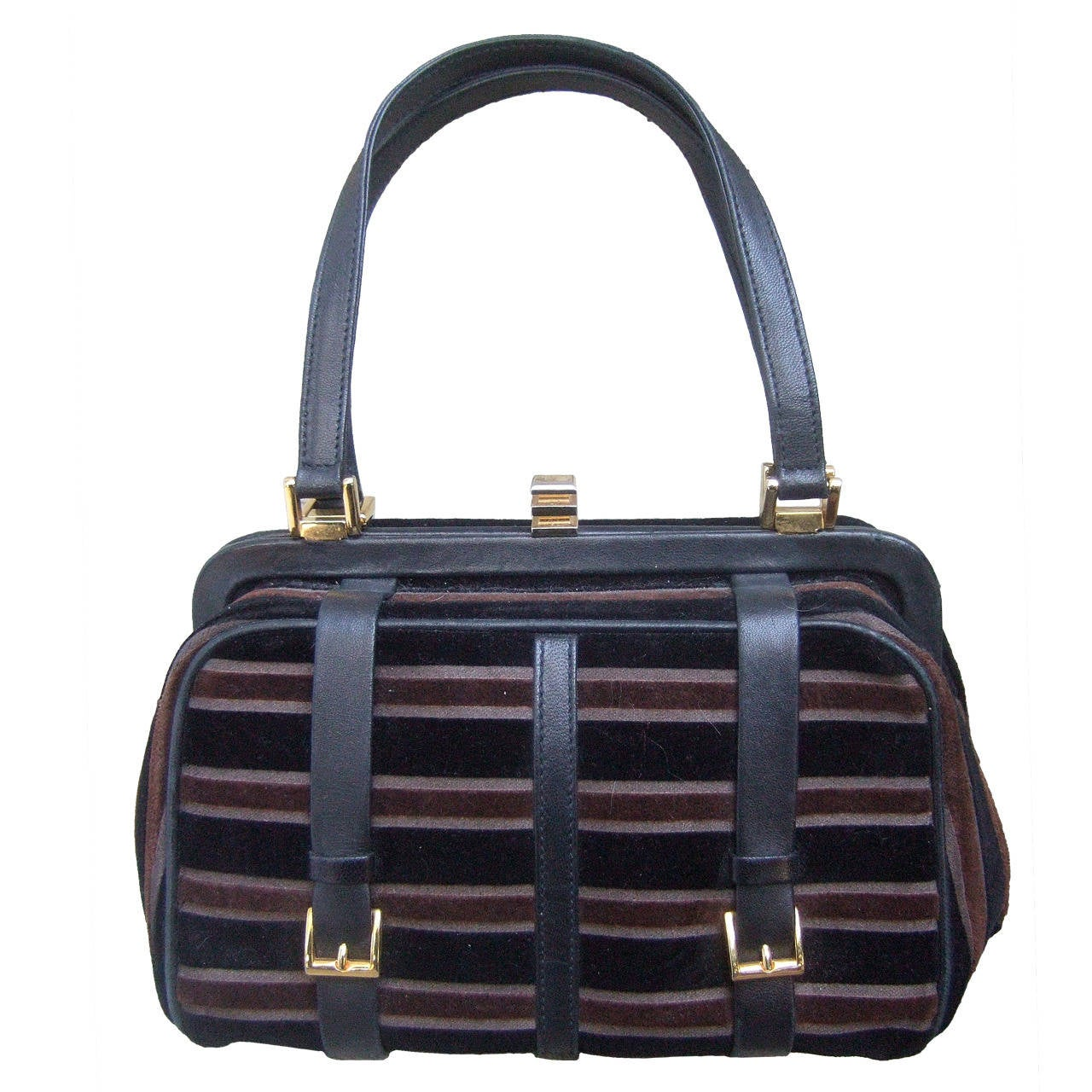 Saks Fifth Avenue Striped Velvet Handbag Made in Italy 1