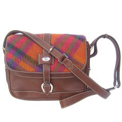 Gucci Italy Plaid Wool Brown Leather Shoulder Bag c 1980