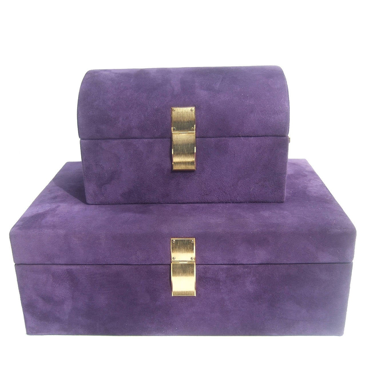 Neiman Marcus Set Of Violet Suede Jewelry Boxes Made In