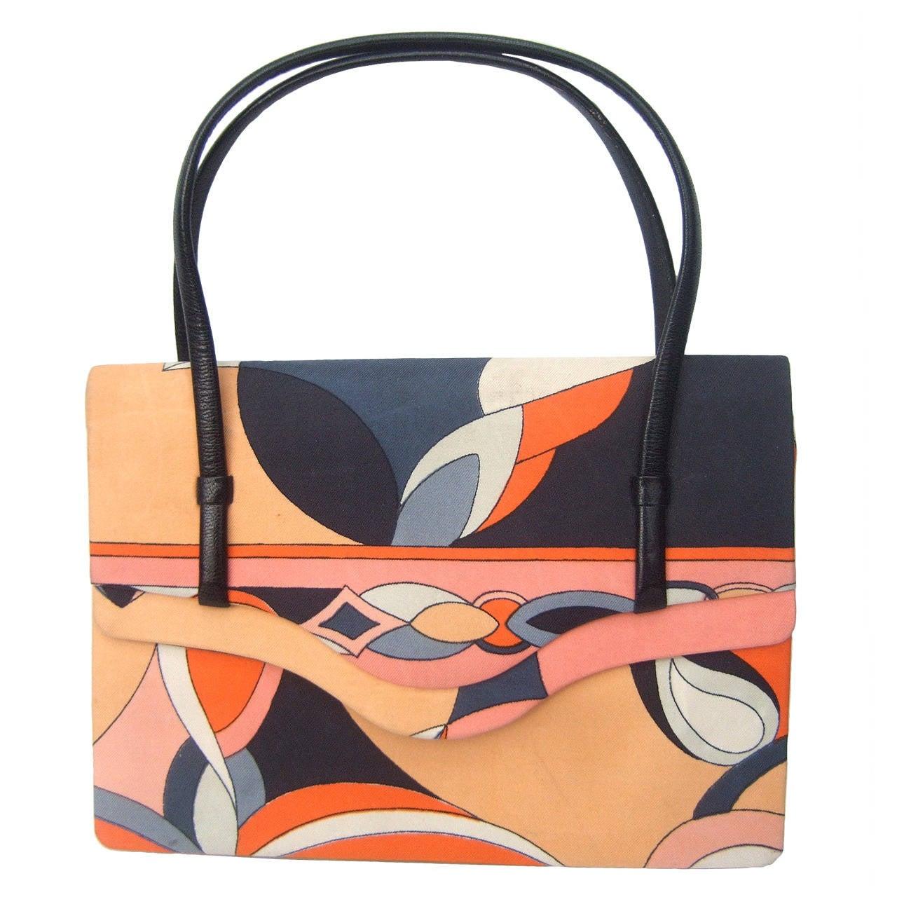 Emilio Pucci Italy Silk Diminutive Envelope Style Handbag c 1970 For Sale
