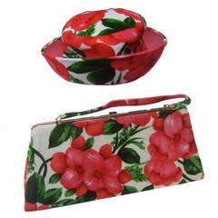 Vibrant Floral Print Velvet Hat & Handbag c 1960