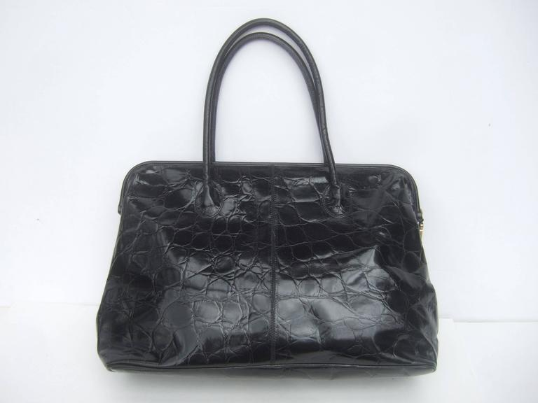 Furla Italy Black Embossed Leather Tote Style Handbag 2