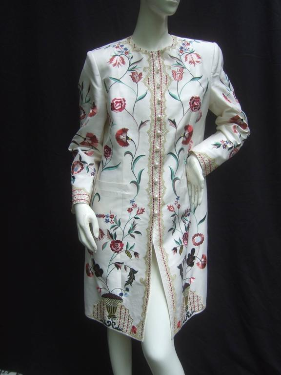 Exotic Haute Couture Embroidered Satin Coat By Max Nugus