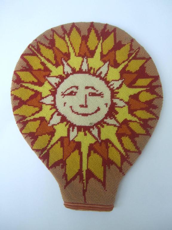 Unique Needlepoint Sun Beam Tennis Racquet Cover c 1970s In Good Condition For Sale In Santa Barbara, CA