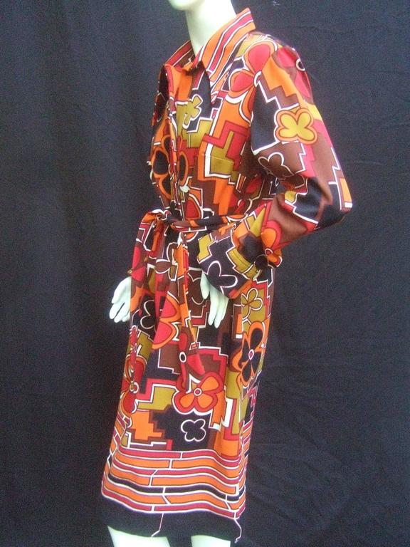 Lanvin Mod Op Art Print Shirt Dress c 1970 In Excellent Condition For Sale In Santa Barbara, CA