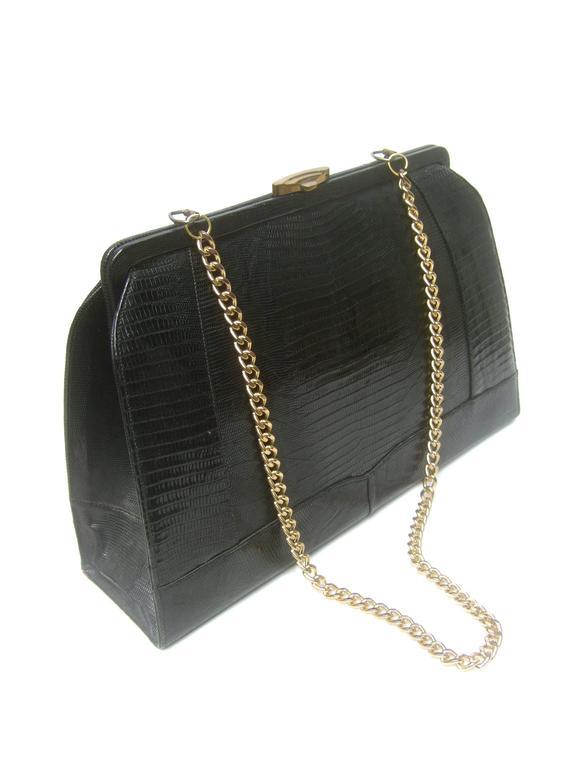 Sleek Ebony Lizard Skin Structured Handbag c 1960 4