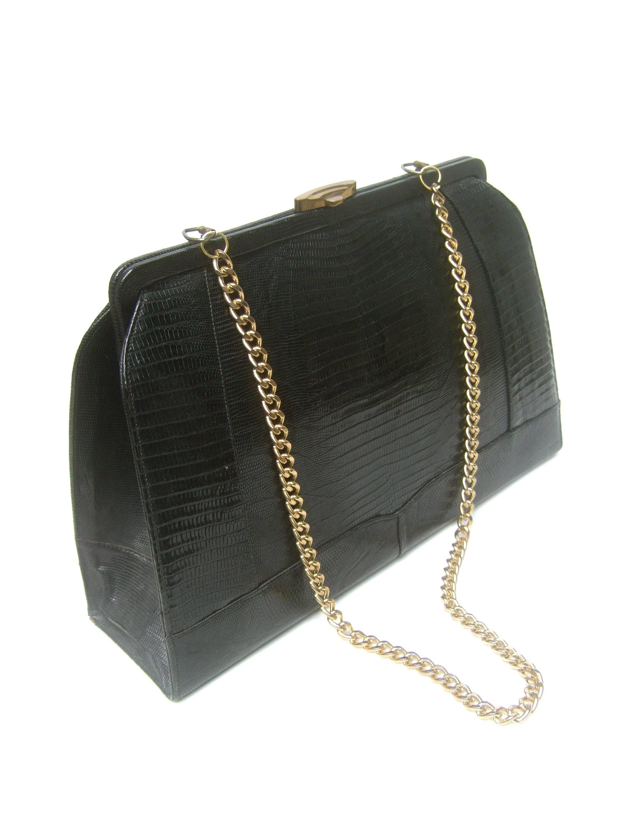 a73d0d1d41 Sleek Ebony Lizard Skin Structured Handbag c 1960 For Sale at 1stdibs