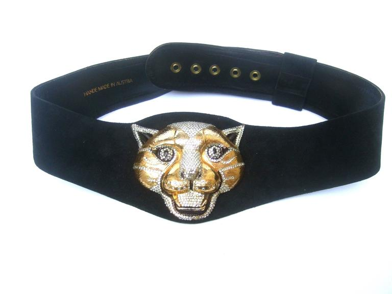 Black Spectacular Massive Jeweled Suede Panther Buckle Belt c 1970 For Sale
