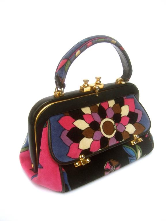 Women's Emilio Pucci Rare Velvet Leather Trim Handbag ca 1970 For Sale