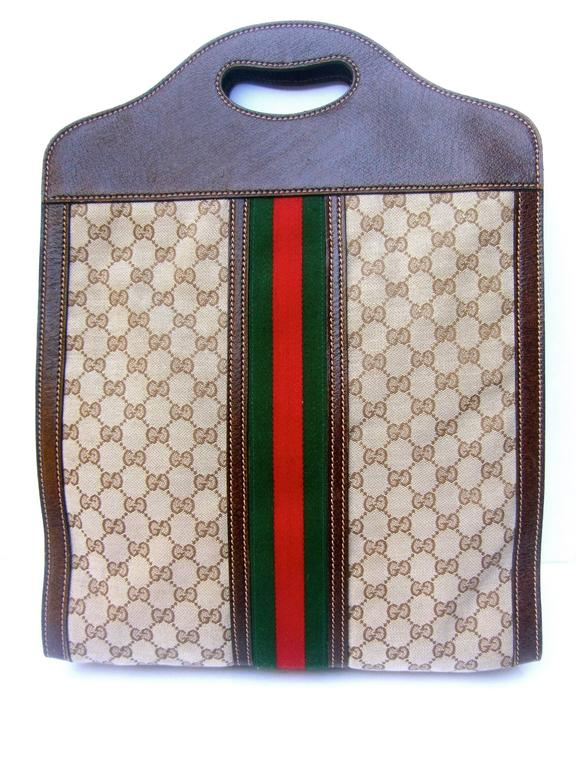 gucci italy stylish leather and canvas tote bag ca 1970s at 1stdibs