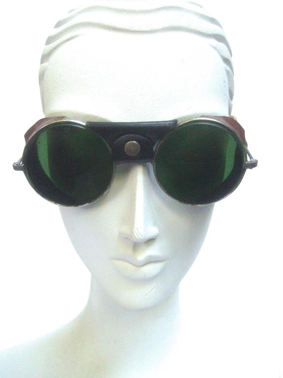 b9be813f79990 1940s Glass lens leather trim unisex aviator sunglasses The avant grade retro  sunglasses are designed with