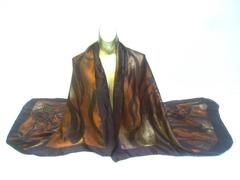 Saint Laurent Rive Gauche Massive Silk Jungle Print Shawl Wrap ca 1990s