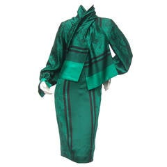 Christian Ruperto Emerald Green Silk Charmeuse Dress & Scarf c 1980