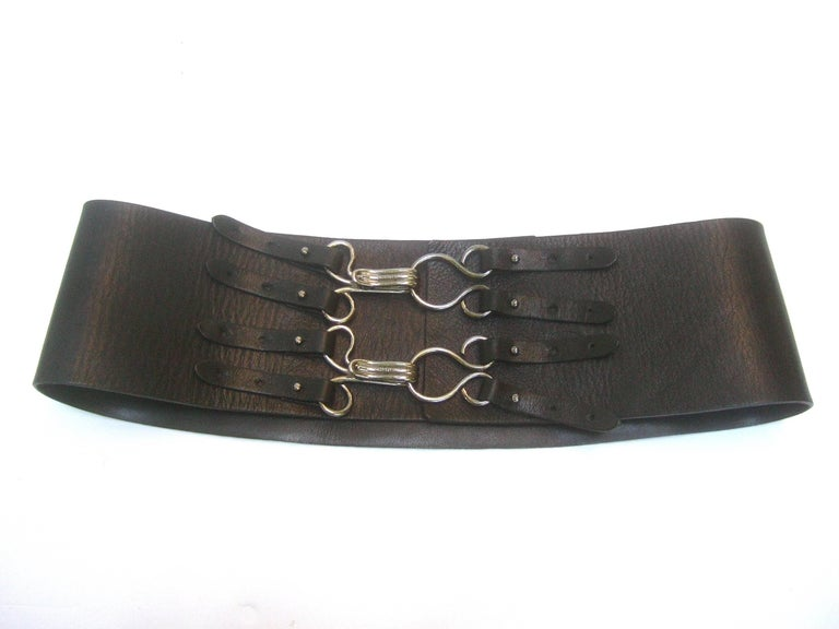 Chanel Bold Wide Black Leather Belt in Chanel Box c 1990s For Sale 4