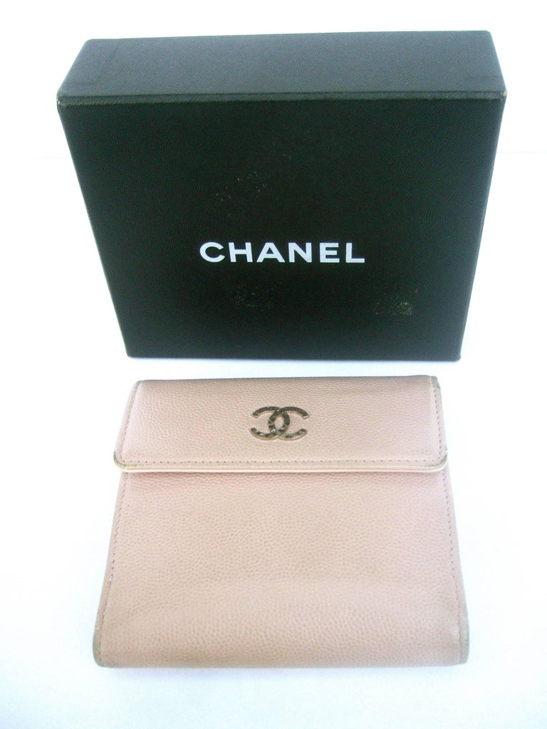 Chanel Pale Pink Caviar Leather Bifold Wallet In Chanel