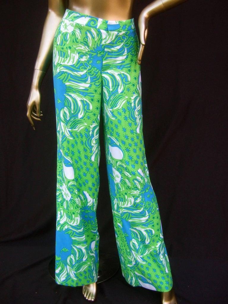 Lilly Pulitzer Women's Vibrant Tiger Print Slacks US Size 6  In Good Condition For Sale In Santa Barbara, CA