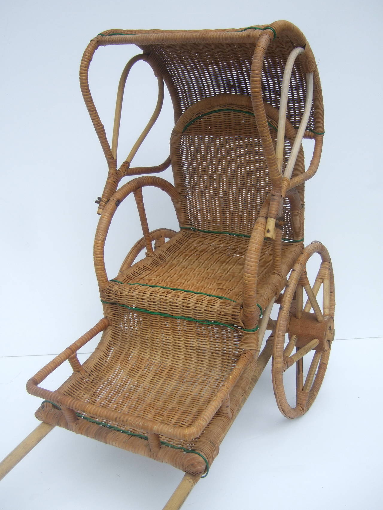 Exotic Wicker Handmade Pulled Child S Rickshaw C 1950 For