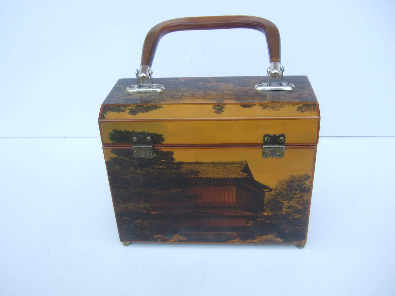 1970s Japanese Inspired Decoupage Geisha Women Handbag For Sale 1