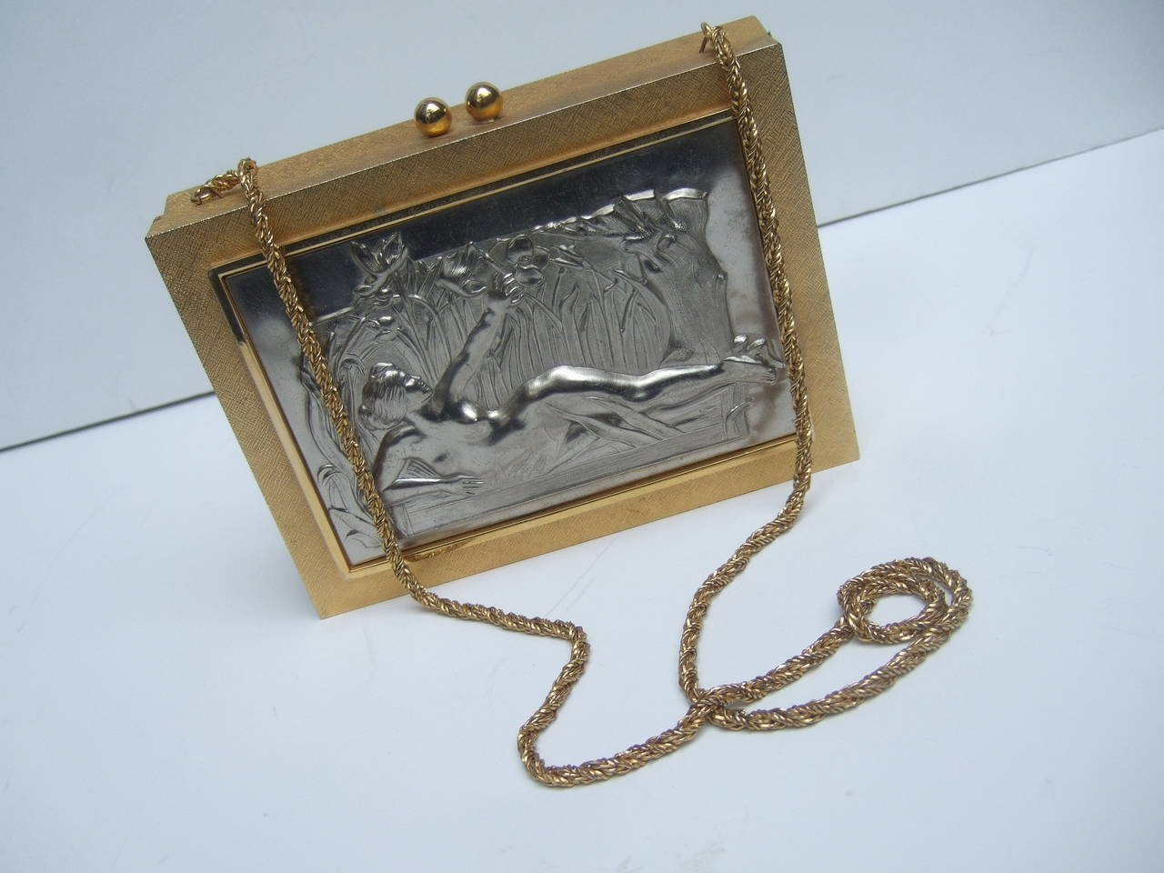 Exquisite Italian Gilt Metal Evening Bag Designed by Harry Rosenfeld For Sale 3